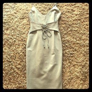 Waist Lace-Up Midi Bodycon Dress